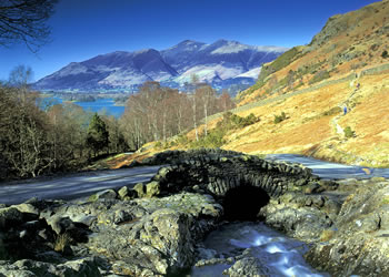 Looking over Ashness Bridge to Derwent Water and Skiddaw - Courtesy of Cumbria Tourist Board